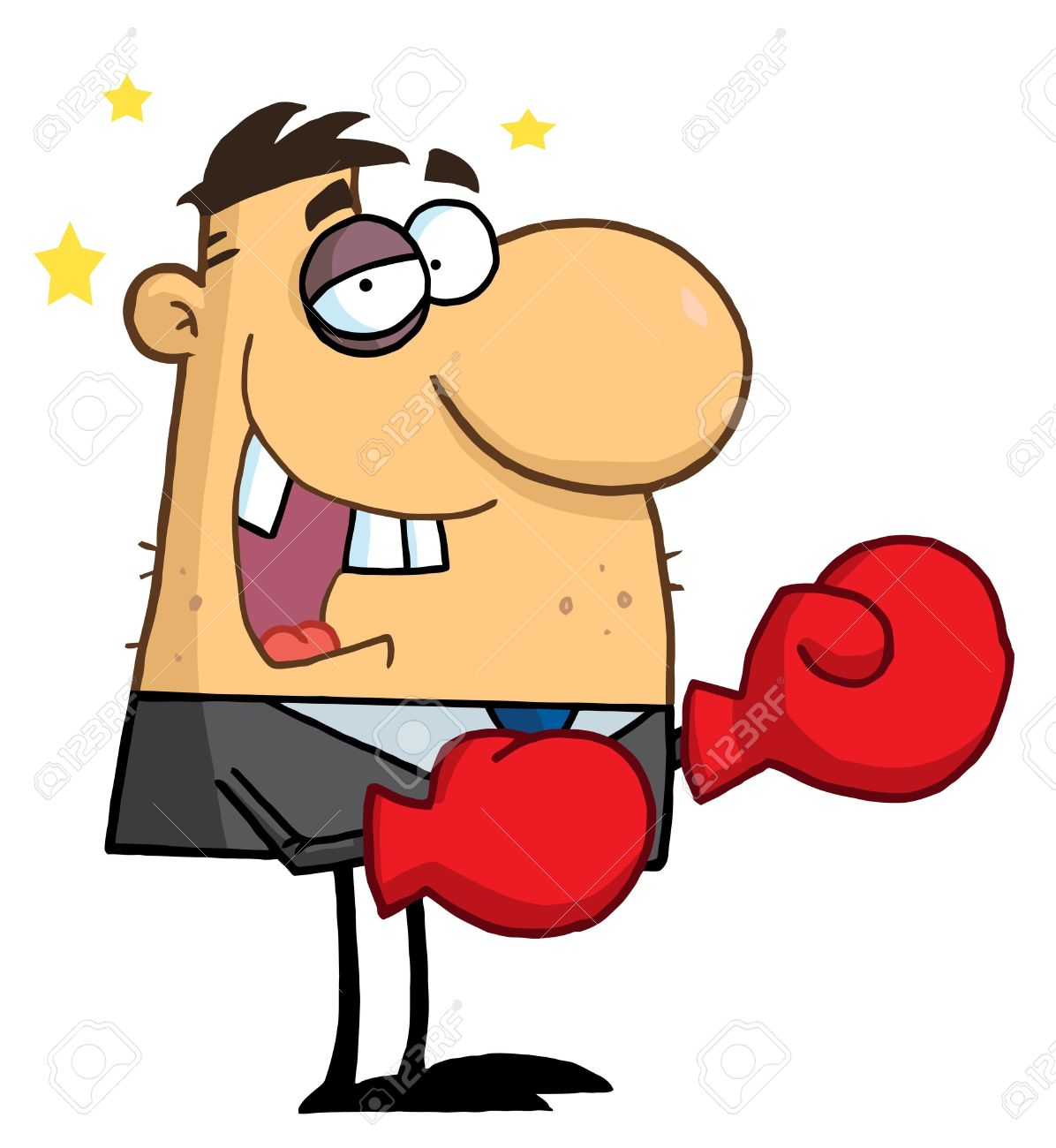 Beat up . Boxer clipart cartoon