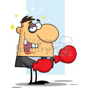 Businessman with black eye. Boxer clipart cartoon