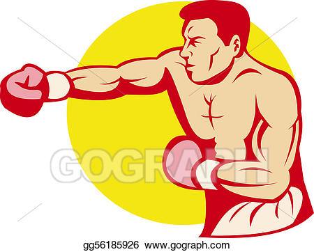 Boxer clipart fighter. Stock illustration or punching