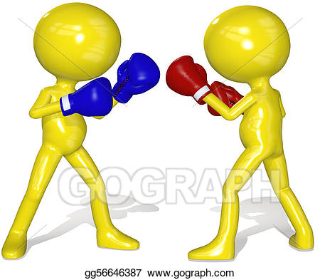 Boxer clipart fighter. Stock illustration fighters red