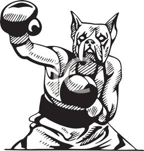A colorful cartoon of. Boxer clipart jab
