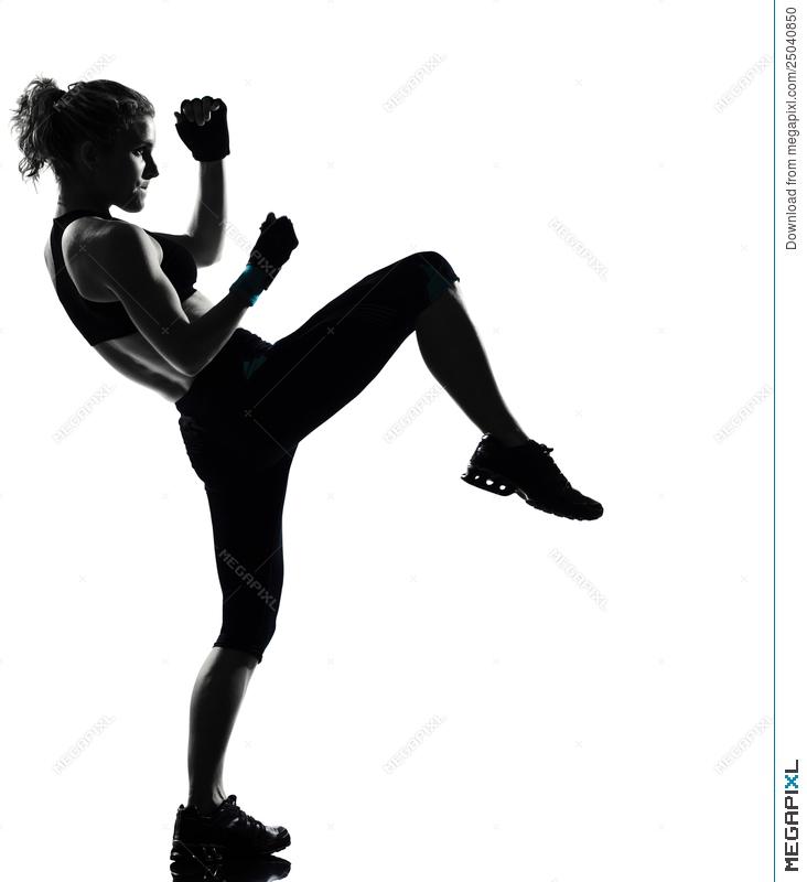 Boxer clipart kickboxing. Woman posture boxing stock