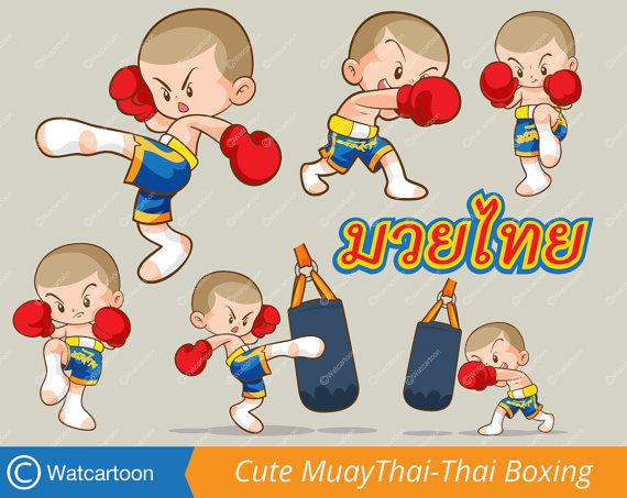 Cute muaythai boy actions. Boxer clipart kid