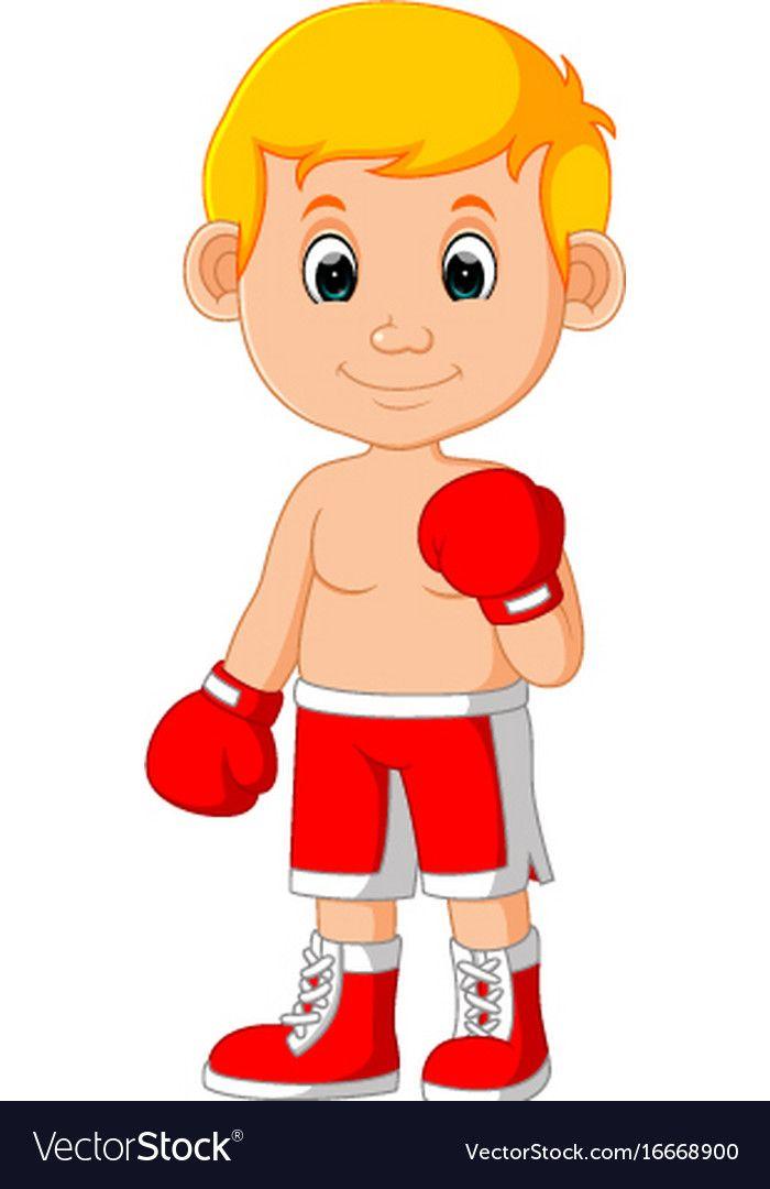 Boxer clipart kid. Cute boy boxing cartoon