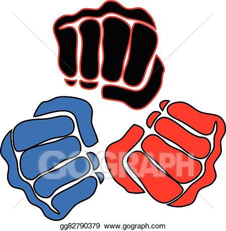Vector illustration power fist. Boxer clipart mma