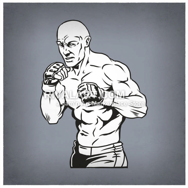 Boxer clipart mma. Ufc cage fighters graphic