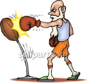 Boxer clipart punching. Old man boxing royalty