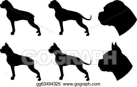 Vector silhouettes illustration gg. Boxer clipart silhouette