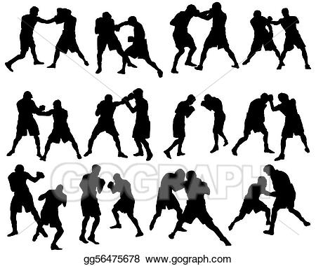 Boxer clipart silhouette. Vector illustration boxing set