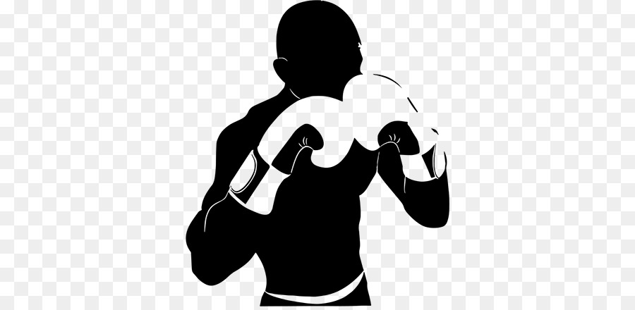 Boxer clipart silhouette. Hand cartoon boxing illustration