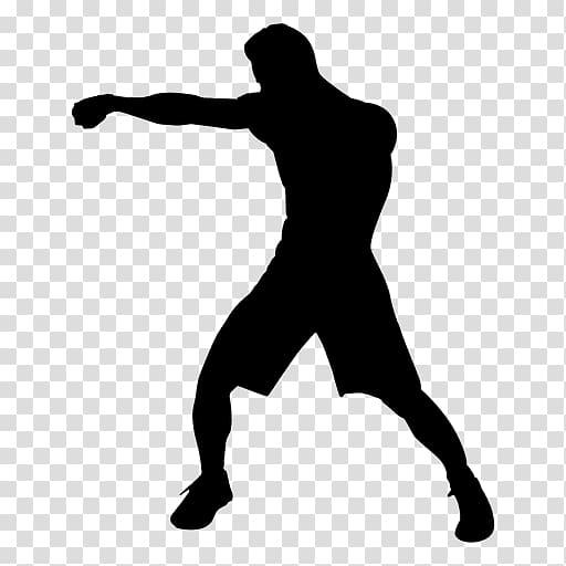 Silhouette boxing punch background. Boxer clipart transparent