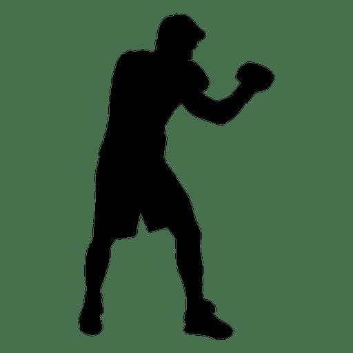 Boxing player guard silhouette. Boxer clipart transparent