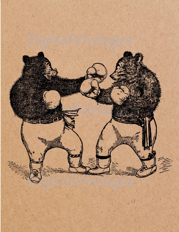 Boxer clipart vintage. Boxing bears sports illustration