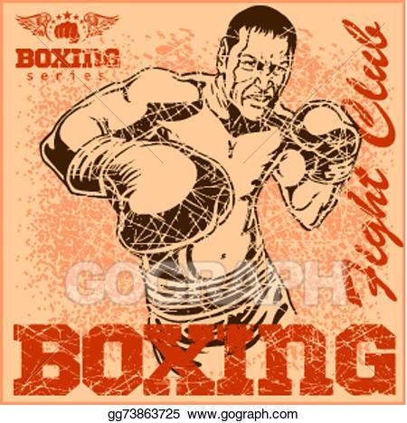 Vector boxing poster illustration. Boxer clipart vintage