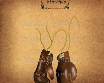 Boxing clip art etsy. Boxer clipart vintage