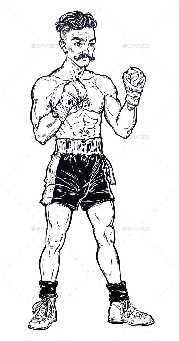 Boxer clipart vintage. Old fashioned fighter player