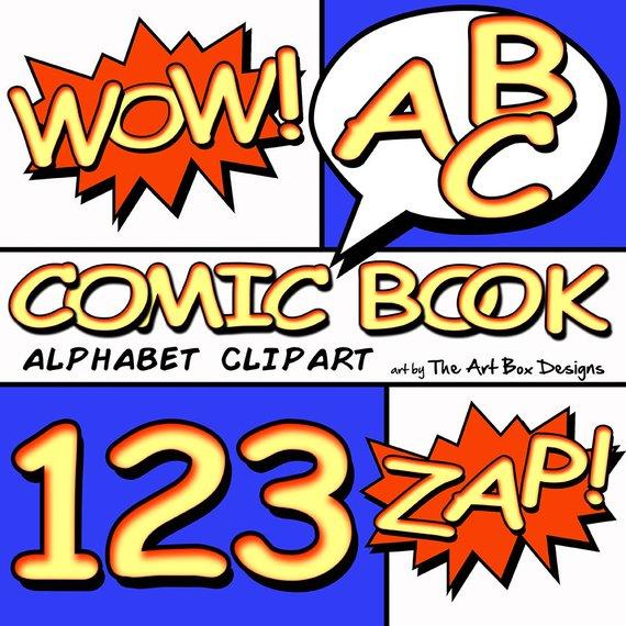 Comic book superhero font. Boxes clipart alphabet