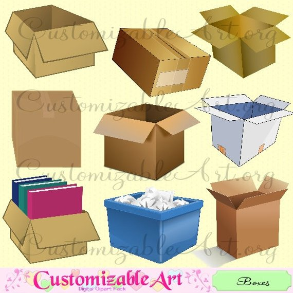 Boxes clipart cardboard box. Moving digital clip art