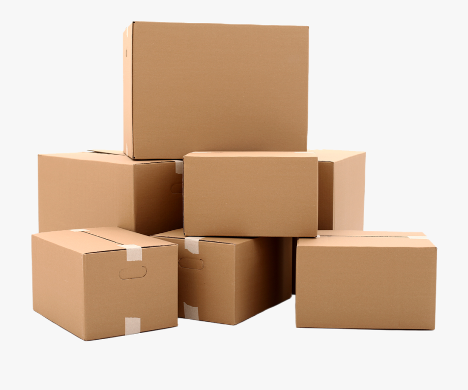 Isolated objects textures transparent. Boxes clipart cardboard box