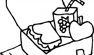 Lunch box coloring page. Lunchbox clipart black and white