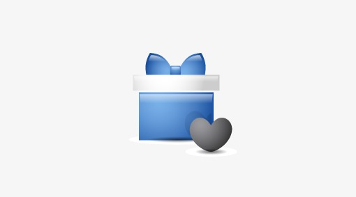 Blue gift box icon. Boxes clipart computer