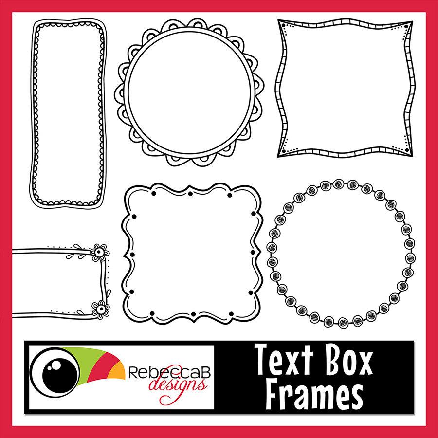 Boxes clipart doodle. Frames text box digital