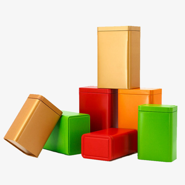 Various colors of iron. Boxes clipart empty box