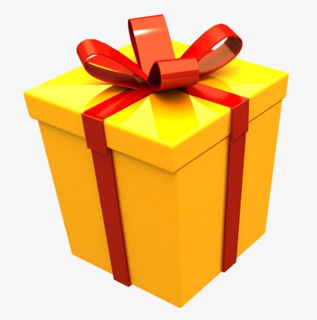 Boxes clipart gift. Yellow box png
