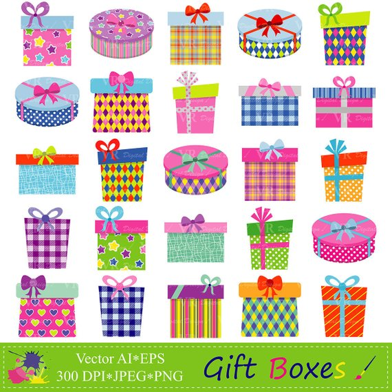 Gifts presents clip art. Boxes clipart gift