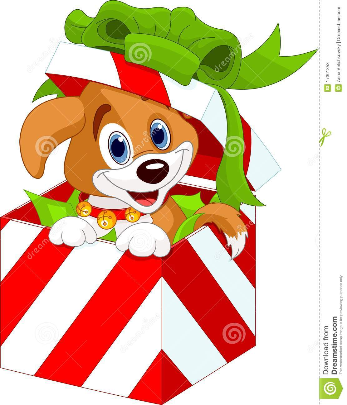 Dog in present box. Boxes clipart kid