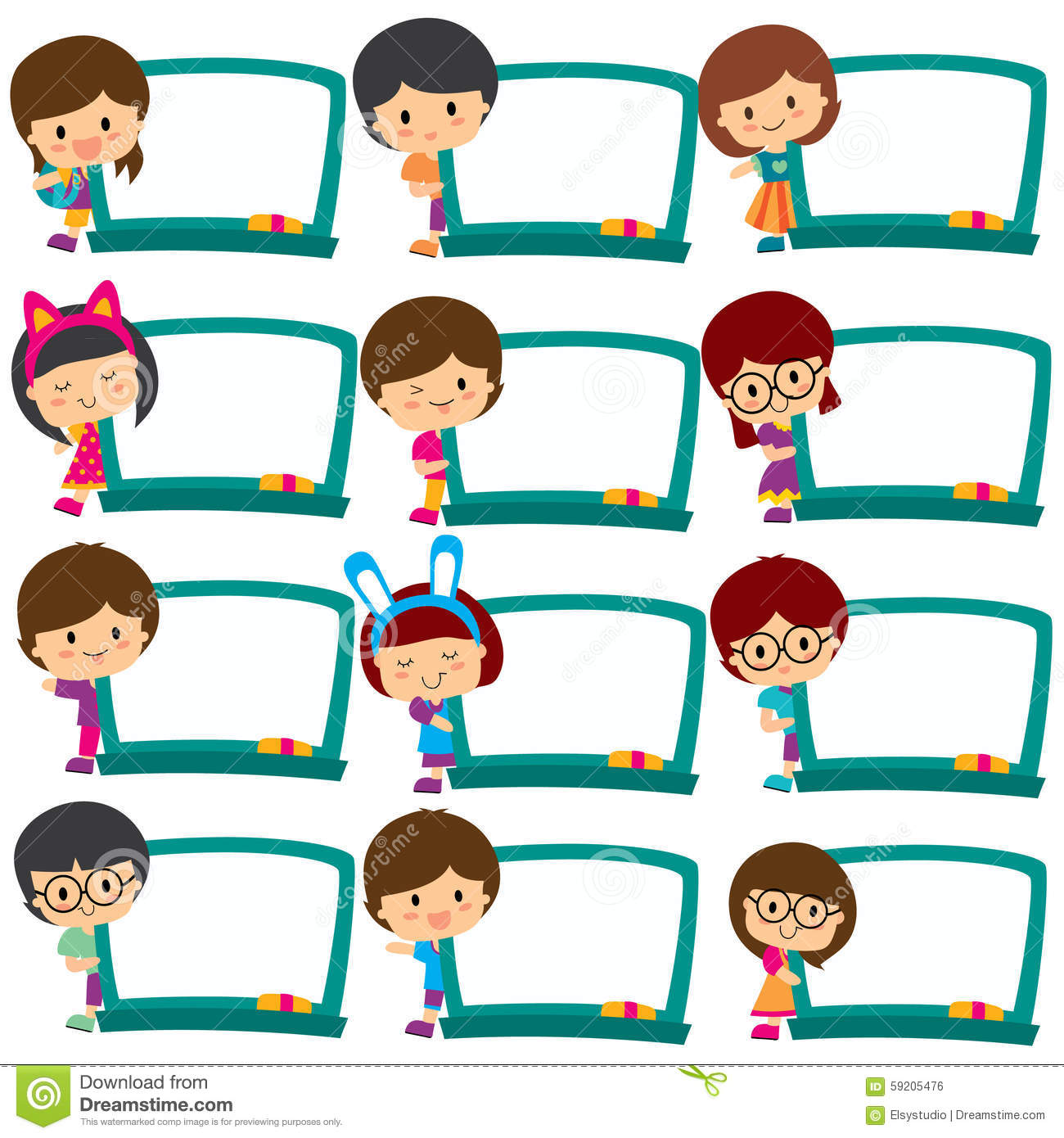 Kids frame board frames. Boxes clipart kid