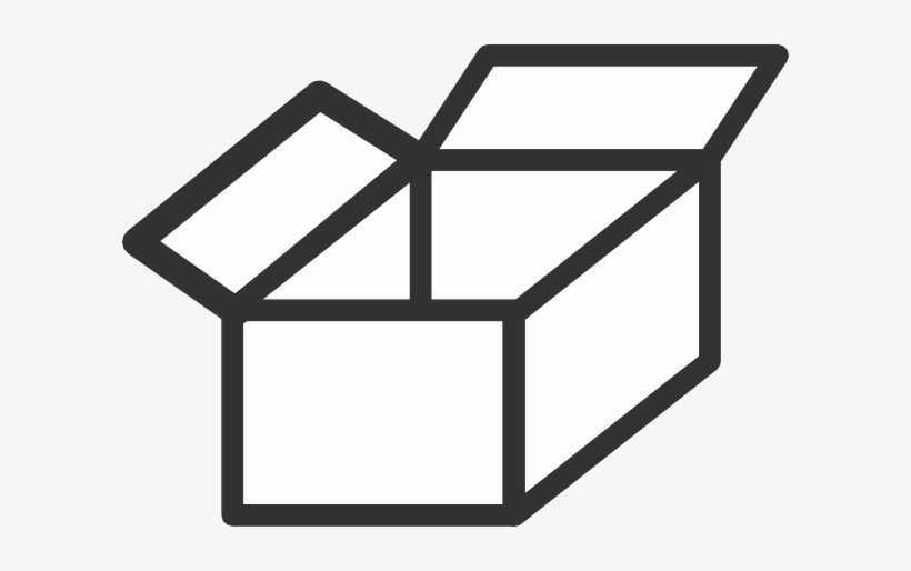 Small box empty black. Boxes clipart outline