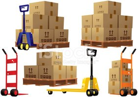 Boxes clipart pallet. Handtrucks pallets and cardboard