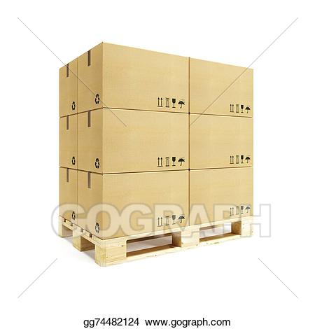 Stock illustration with cardboard. Boxes clipart pallet