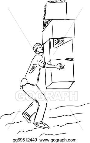 Vector stock a man. Boxes clipart sketch
