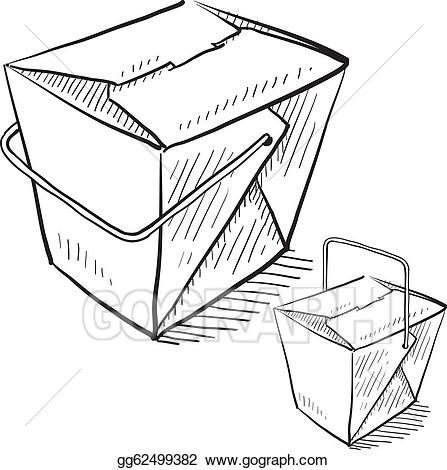 Vector chinese food illustration. Boxes clipart sketch