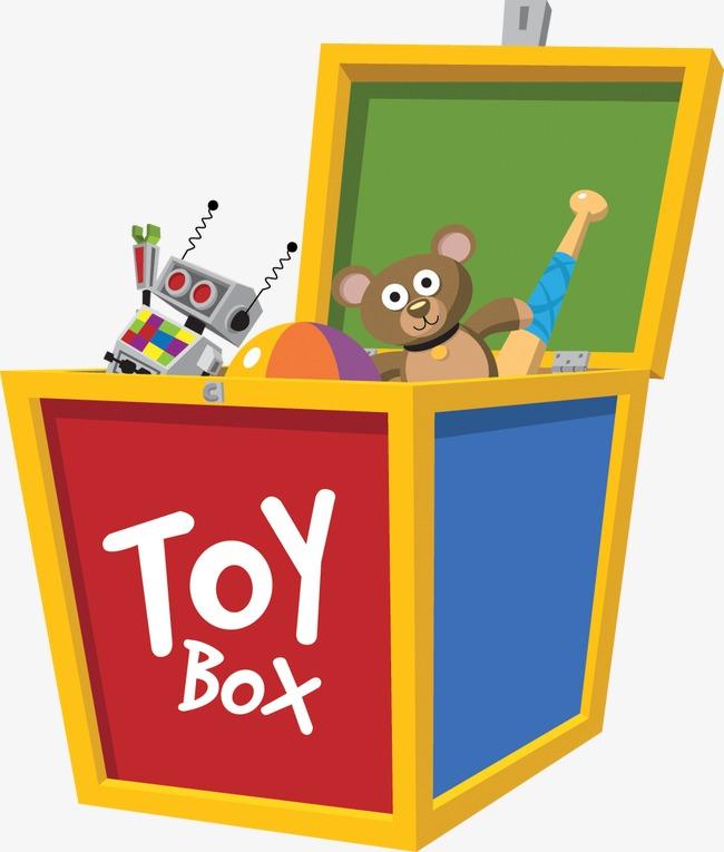 Toybox box bear robot. Boxes clipart toy
