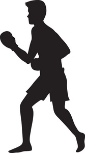 Boxing clipart. Image silhouette of a