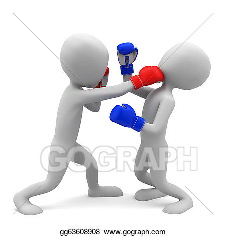 Drawings d small people. Boxing clipart background