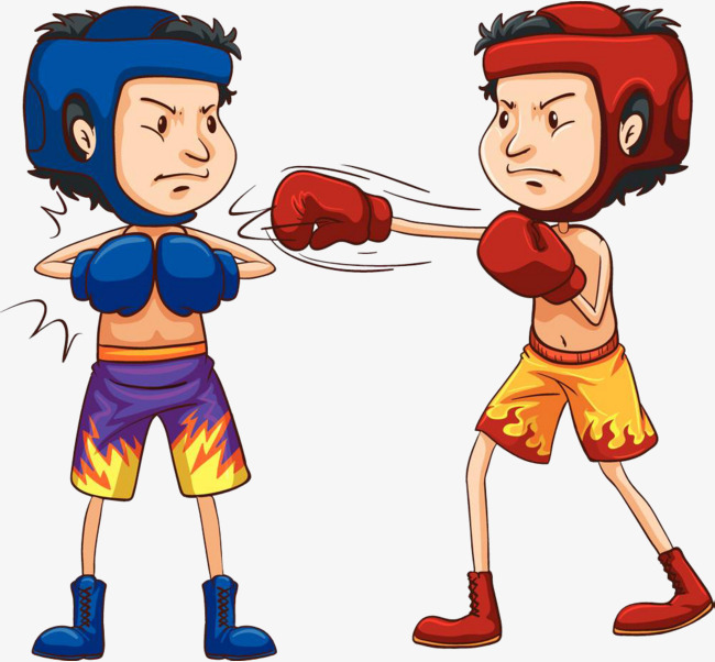 Battle clipart. The boys fighting and