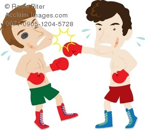 Boxer clipart cartoon. Illustration of two men