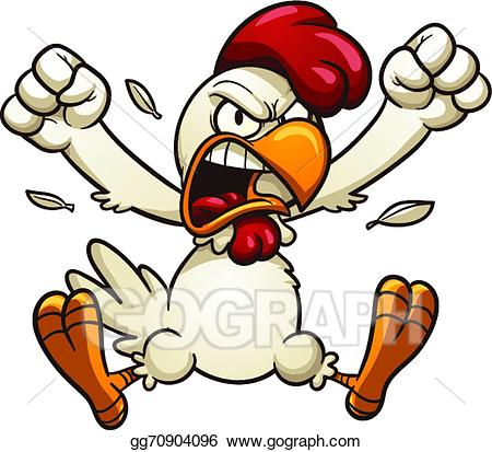 Boxing clipart chicken. Vector illustration angry stock