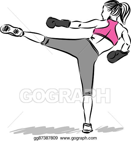 Vector stock woman fitness. Boxing clipart kick boxing