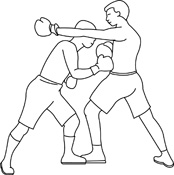 Free black and white. Boxing clipart outline