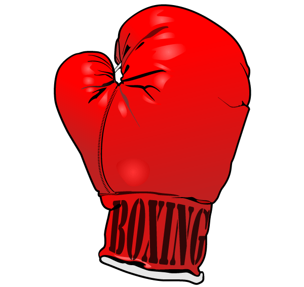 Boxer clipart punching. Red boxing gloves vector