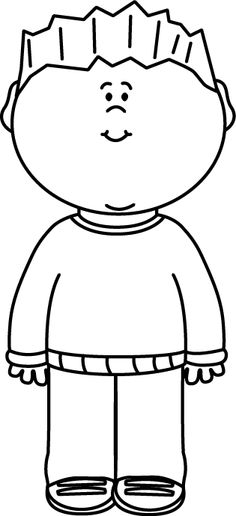 Boys clipart black and white. Happy boy clip art