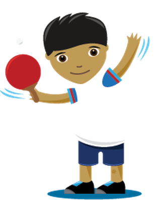 Children playing sports table. Boy clipart child