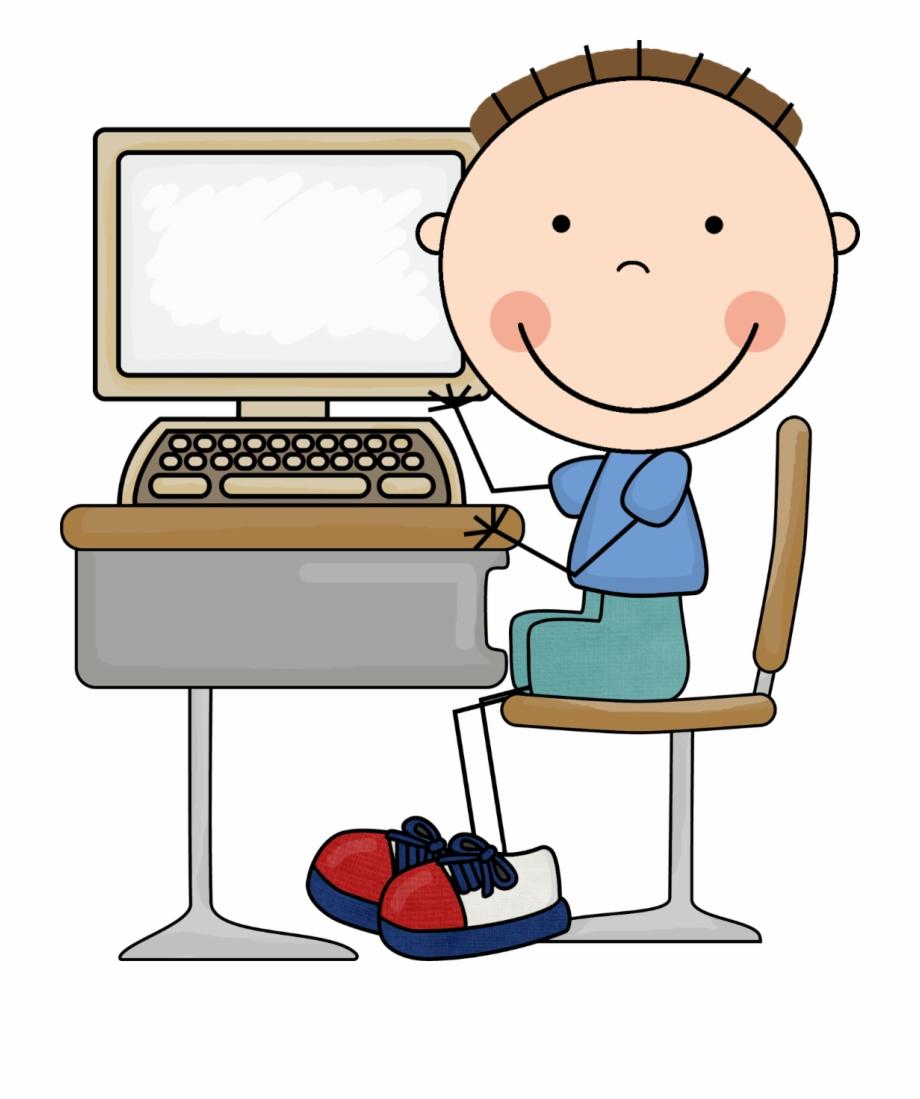 Computers boy kid on. Computer clipart computing