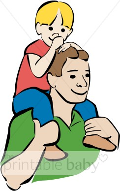 Boy clipart dad. Kid dads shoulders father