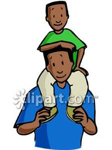 Boy clipart dad. On his s shoulders